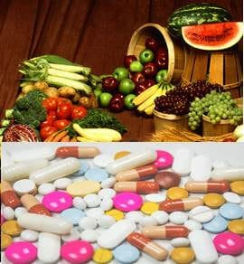 calcium tablets, calcium-rich foods, fruits