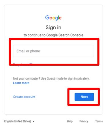 google search console login page